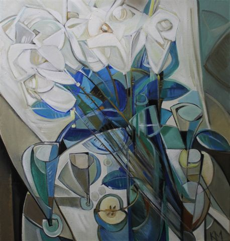 Признание (Белые цветы).       2006 г.          95х90 см.        Холст, масло.
