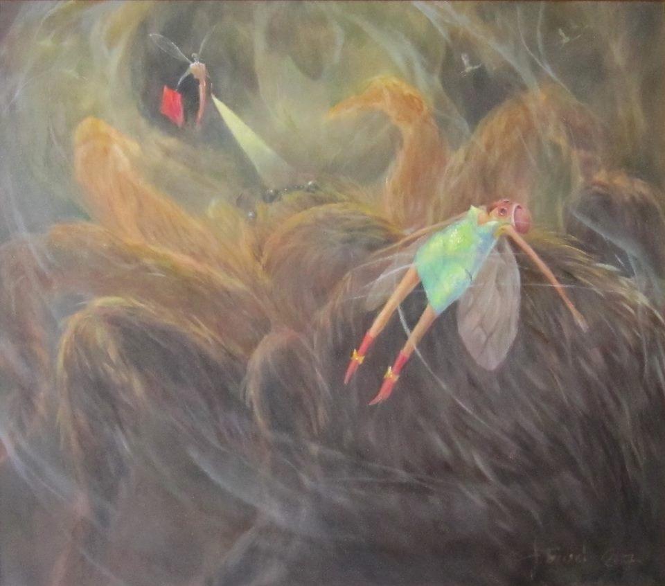 Александр Беляев.     2017 г.        Похищение мухи.      Холст, масло.      70х80 см.