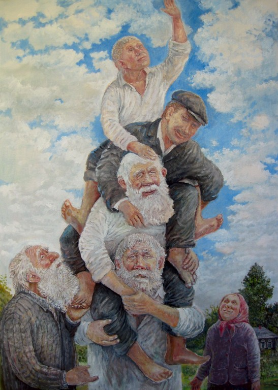 Леонид Баранов.    Дотянуться до небес.    2008 г. Холст, масло. 70х50 см.