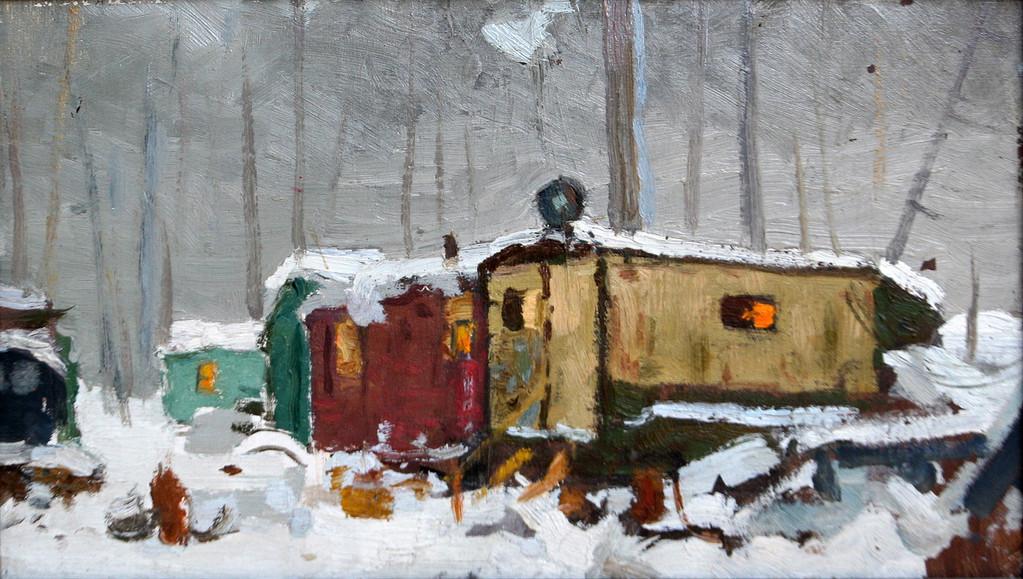 Иван Нестеров (1922-2003).     Вагончики (Стро-во жел. дороги «Ивдель-Обь»)         1961 г.   Картон, масло.   20х35 см.