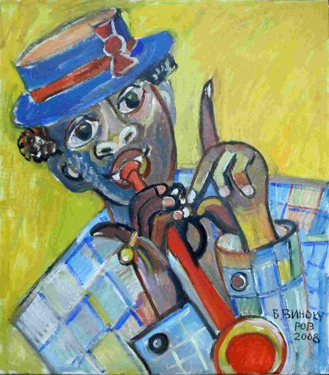 Владимир Винокуров.    Луи-хороший музыкант. 2008 г. Холст, масло. 70х50 см.