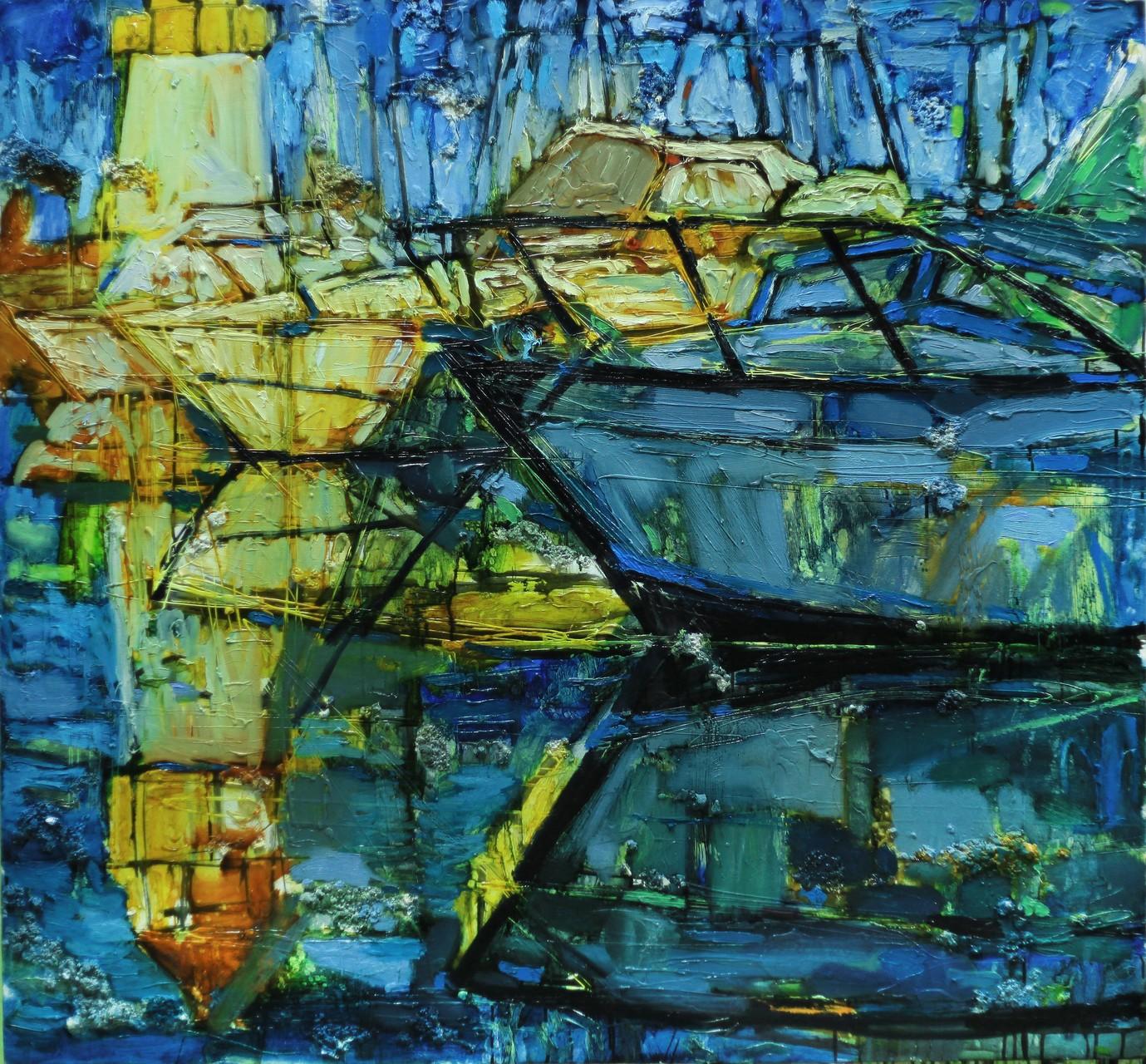 К. Поединщикова.       Лодки.      2014 г.      Холст, масло.     130х140 см.