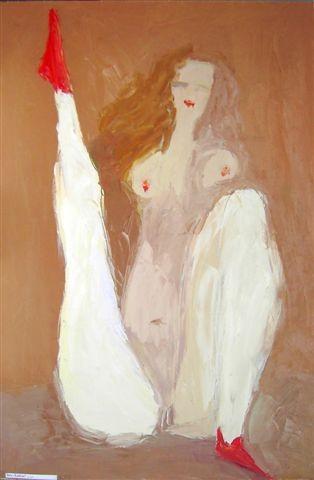 Сергей Лаушкин.    Красные носочки.    2007 г. Холст, масло. 150х97 см.