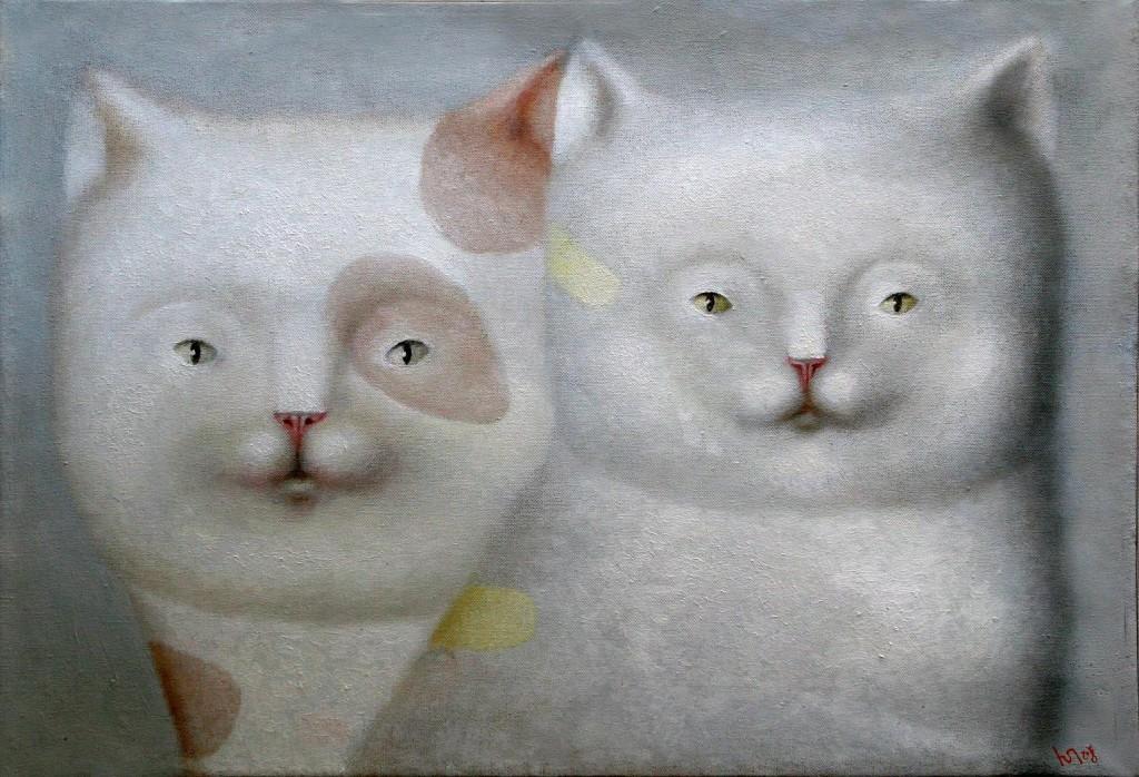 Коты.     2008 г. Холст, масло. 45,5х65,5 см.