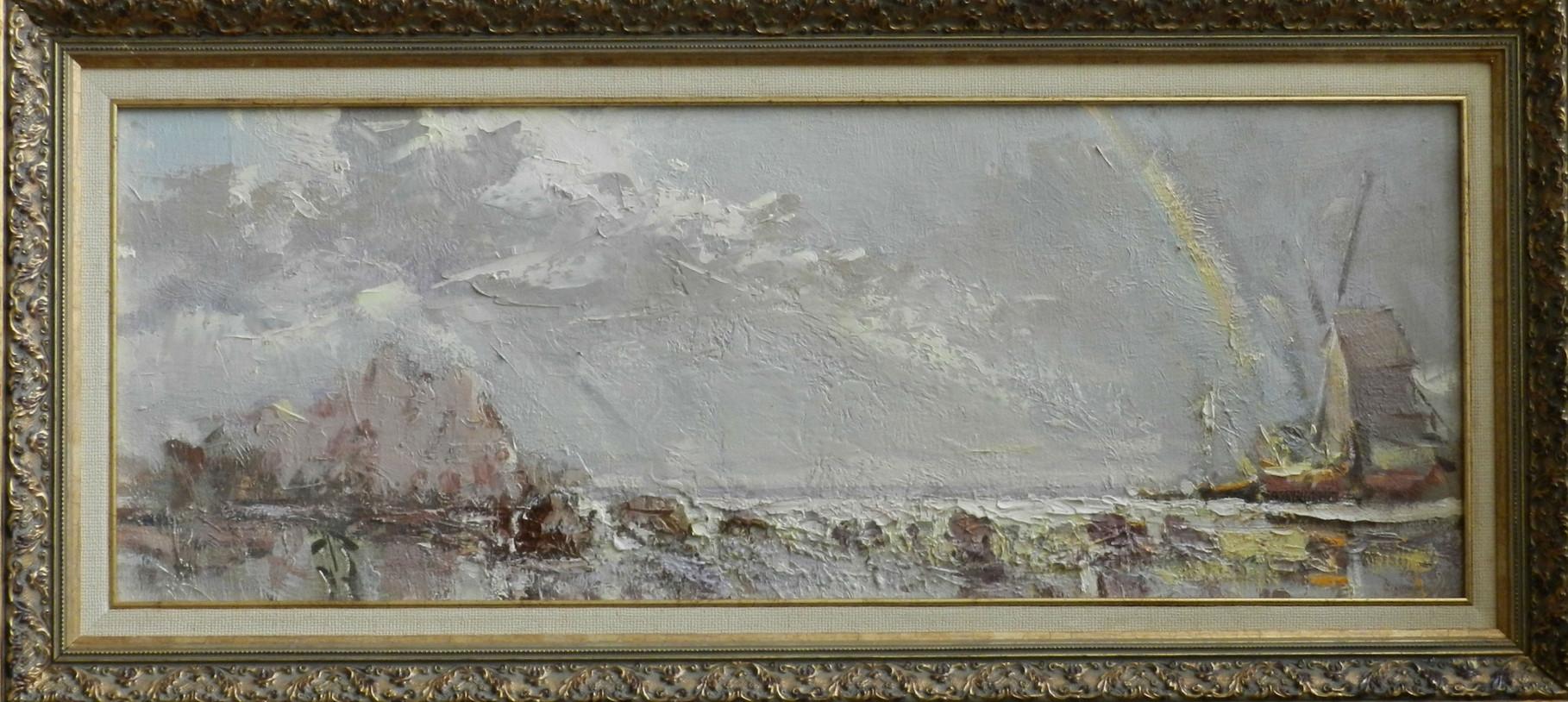 Скалистый берег Монте Негро.           2006 г.       Холст, масло.   33х88 см.