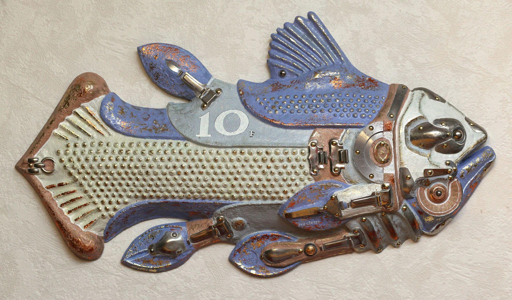 Страж -1. Триптих «Страж глубин».   2016 г.    Металл, папье-маше.   (100 х 66 см.)