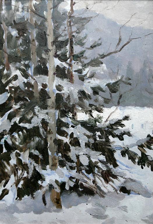 Бернгард Олег Эдуардович (1909-1998 г.)             Зимка.           1950-е.    Картон, масло.   46х32см