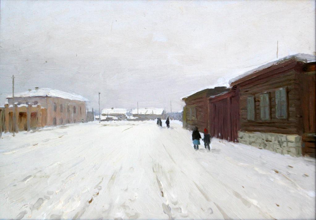 Николай Засыпкин  (1921-1989).      Закрытые ставни. Старый город.   1956 г.    Картон, масло.   25х35 см.