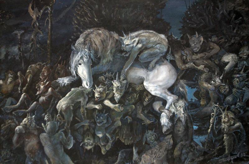 Леонид Баранов.   Белая лошадь.   1990 г.   ДВП,  масло.  64х 95,4 см.