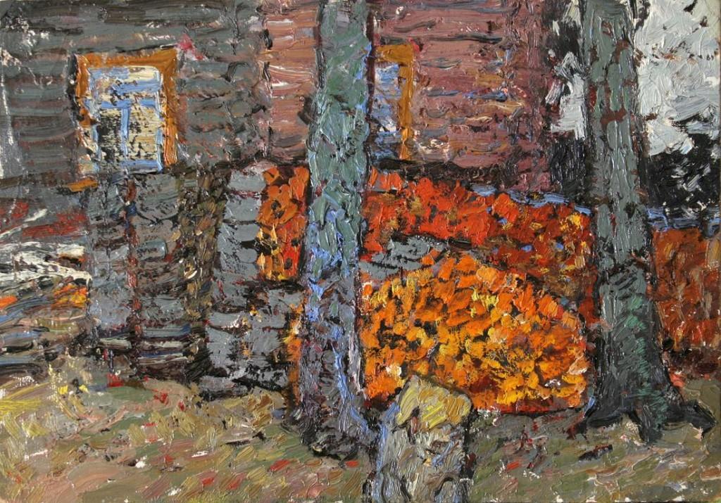 Поленница.    1972 г. Картон, масло. 24,5х34,5 см.