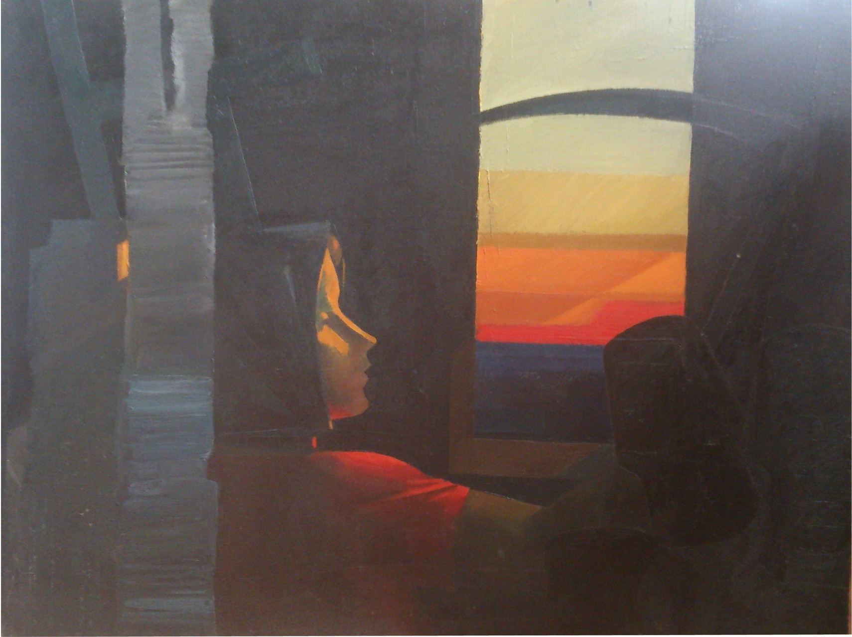Владимир Васильевич Балясников.   Вечер.    Закат.     1982-87 г.    Холст, масло. 88х127см.