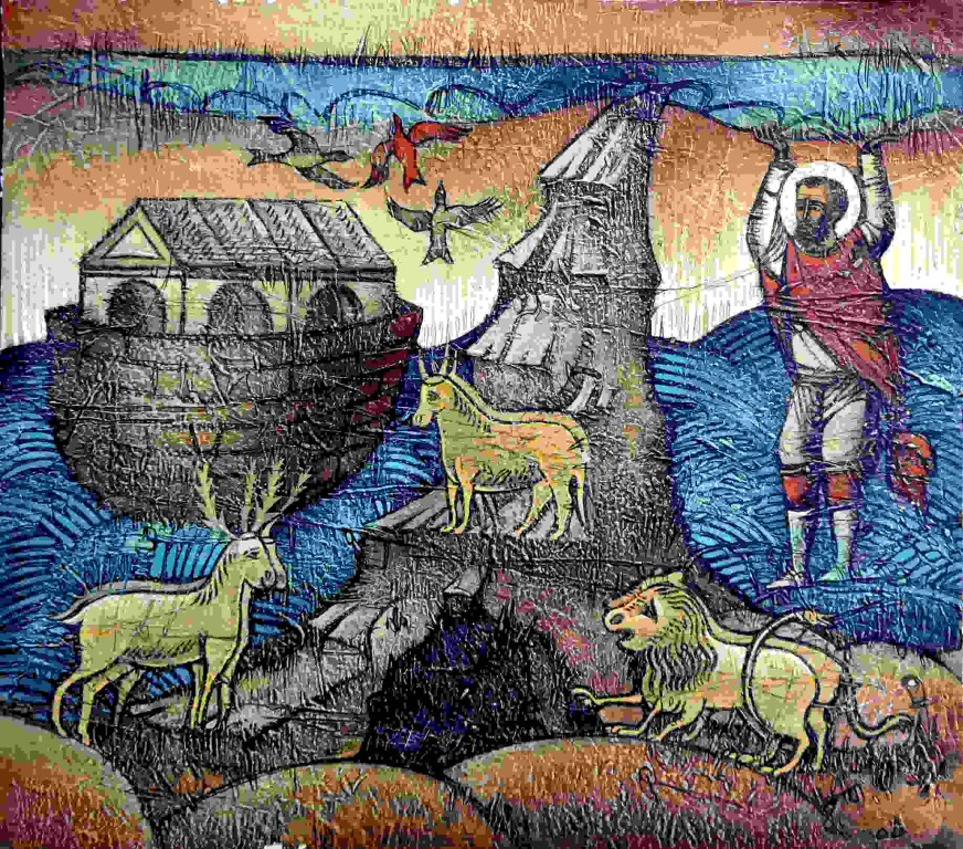 Станислав Кежов.    Ноев ковчег.    2006 г. Картон, рельеф, темпера. 42х48 см.
