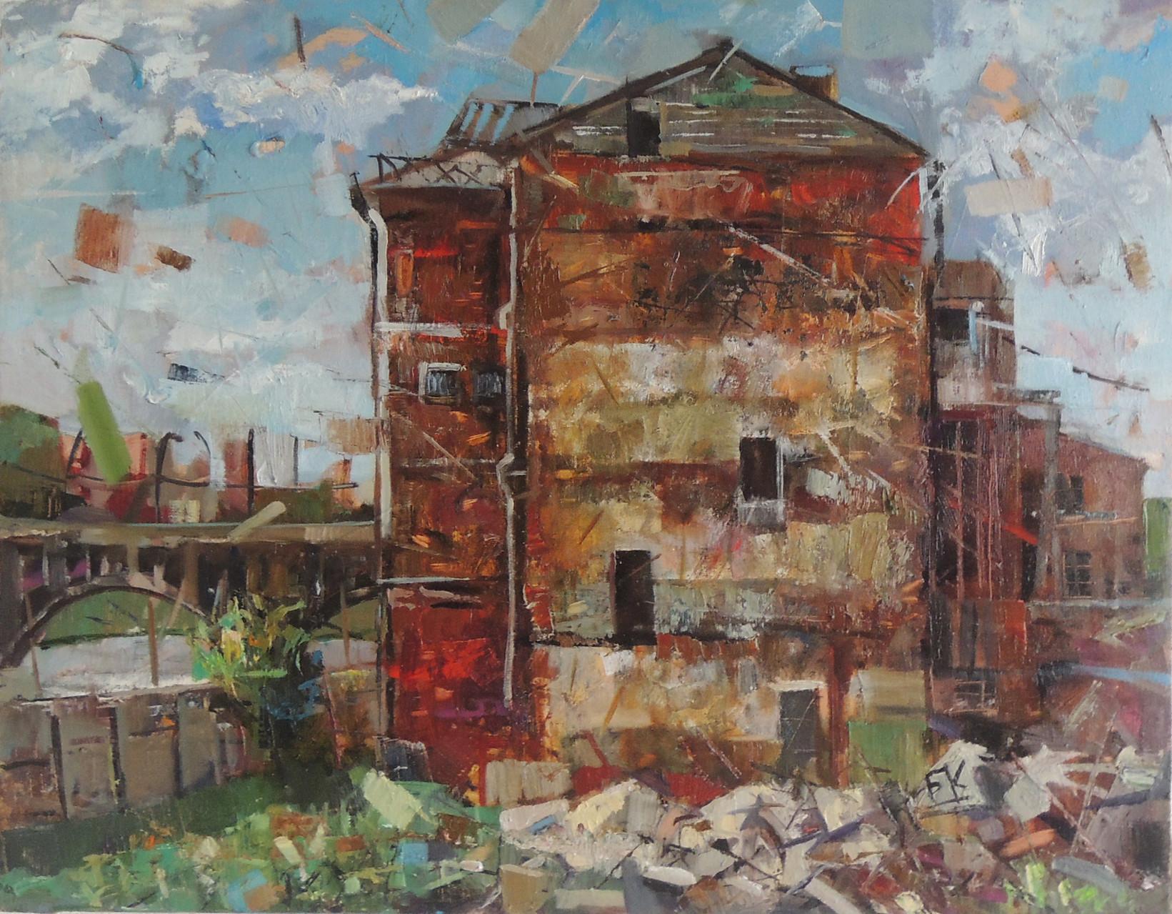 Развалины мукомольного завода.       Холст, масло.   62х80 см.