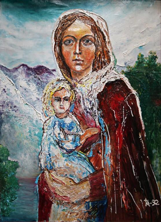 Евгений Каргаполов.     Мадонна надежды.     1992 г. Холст, масло.        53,5х73,5 см.