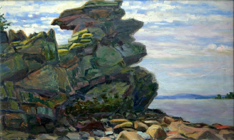 Слюсарев Иван Константинович (1886-1962 г.г.)               Скала на Исетском озере.          1920-е.   Бумага, масло.   46х73 см