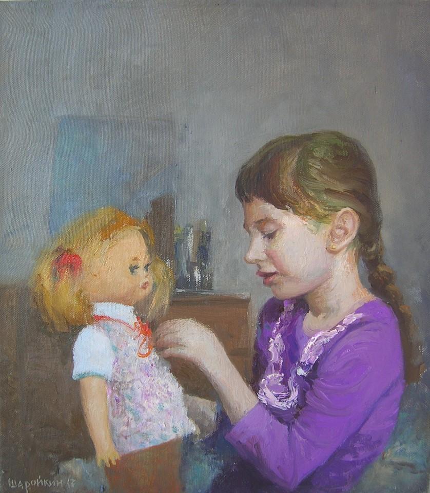 Геннадий Шаройкин.     2017 г.      Обновка для куклы.     Холст, масло.     45х40 см.