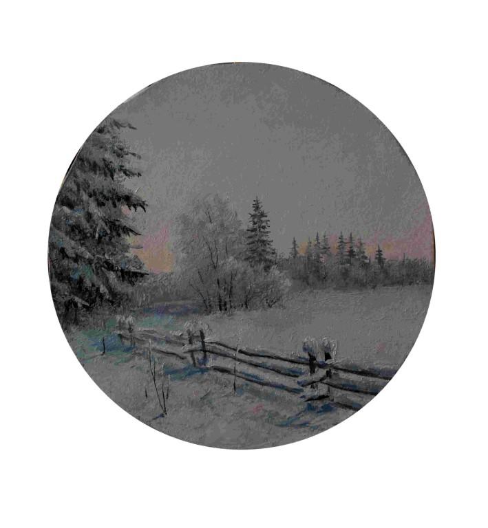 Анна Селенских.        Полдень зимой .      2006 г. Холст, масло.   D 39 см