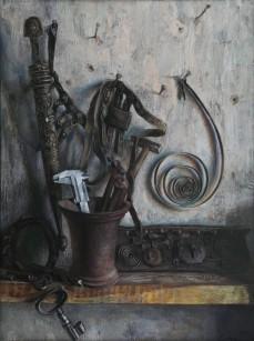 Герман Метелев (1938-2006).    Музыка металла.     1981 г. ДВП, левкас, масло.         80х60 см