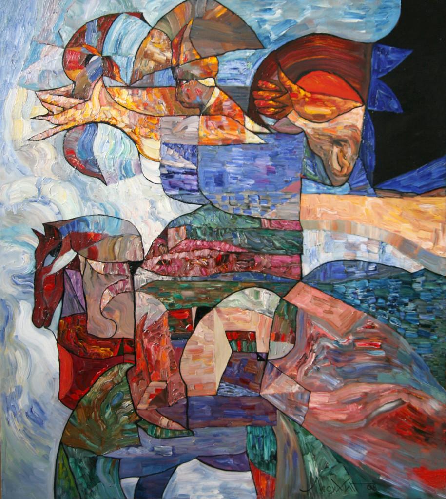Лучник (Небесный воин).    2008 г.   Холст, масло.    90х80 см.