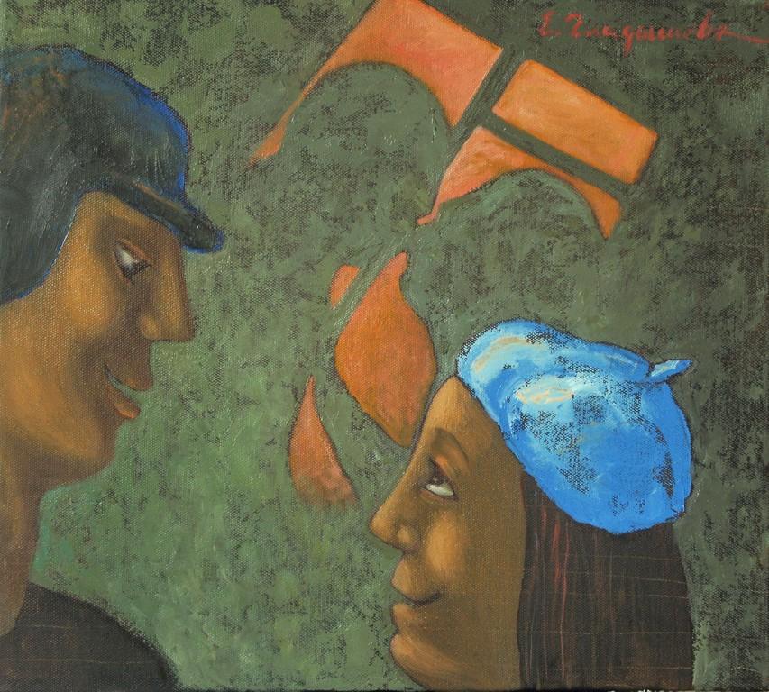 Елена Гладышева.     «Добрый вечер!»     2010 г.    Холст, масло.   45х50 см.