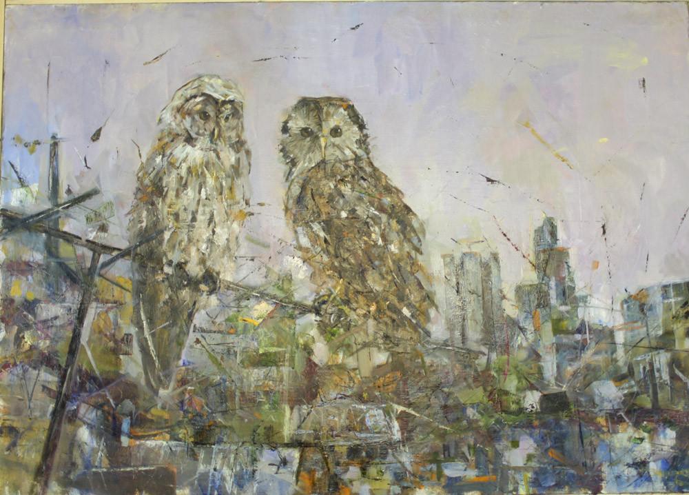 Мудрые совы.          Холст, масло.              2011 г.           70х100 см.