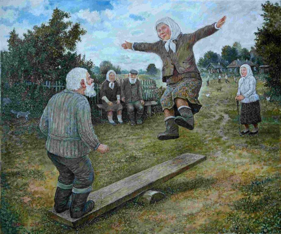 Леонид Баранов.     Деревенский цирк.     2008 г. Холст, масло. 50х60 см.