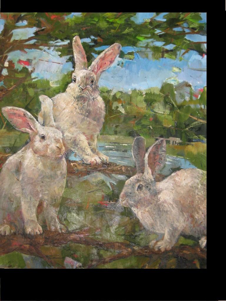 Кирилл Бородин. Кролики на дереве. 2013 г. Холст, масло.2012г. 80х85 см.