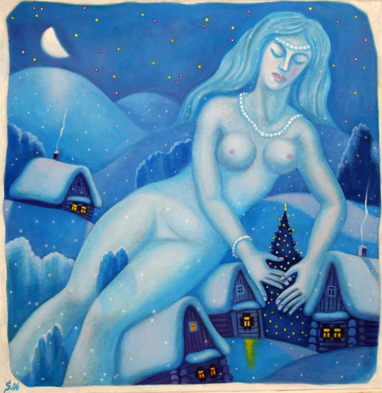 Владимир Смелков.     Рождественская ночь.     2006 г. Оргалит, масло. 70х70 см