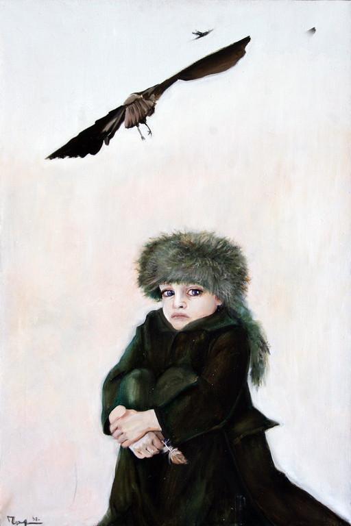 Лидия Чупрякова.       Птичка.      2008 г.       Холст, масло.     90х60 см.