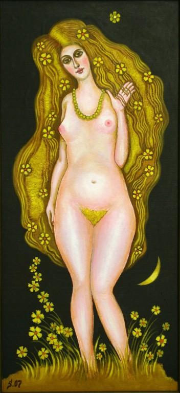 Владимир Смелков.    Уральская Венера.     Пластик, масло. 70х33 см.