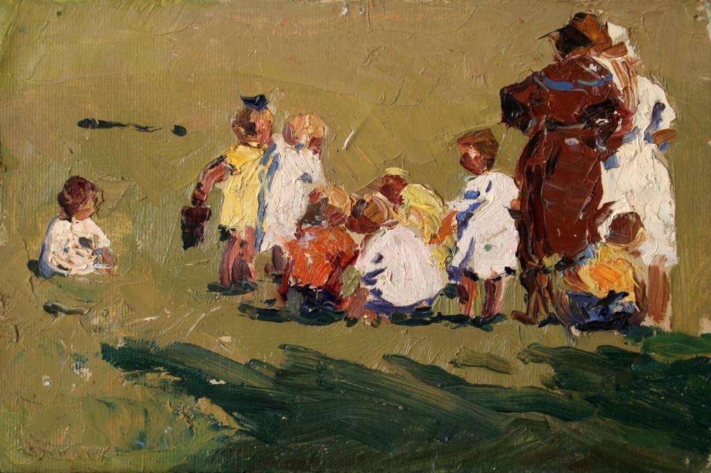 На прогулке.     1959 г. Картон, масло. 18,5х55 см.