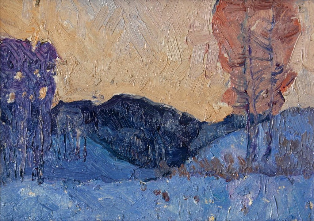 Вечер на реке.      1977 г. Картон, масло. 16,5х13,5 см.
