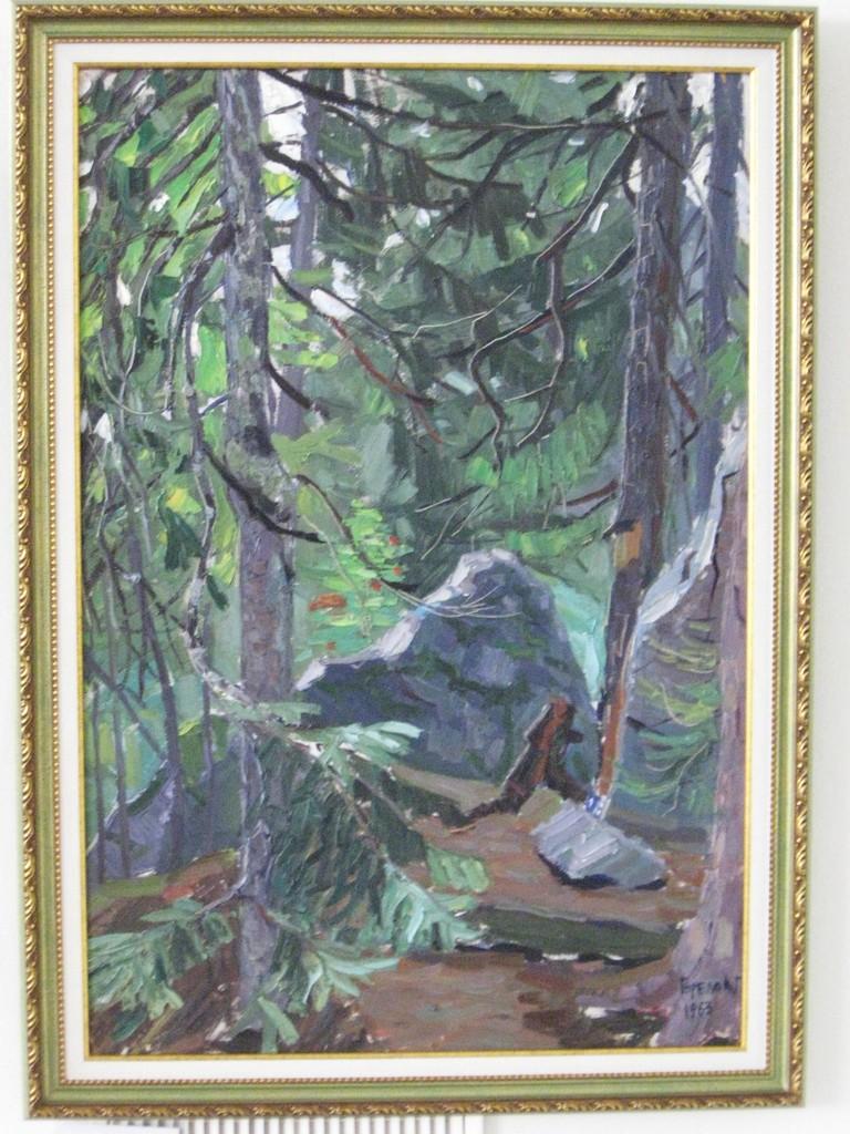 Геннадий Горелов.   Пейзаж. 1963 г.   Картон, масло 73,5х50,5 см.