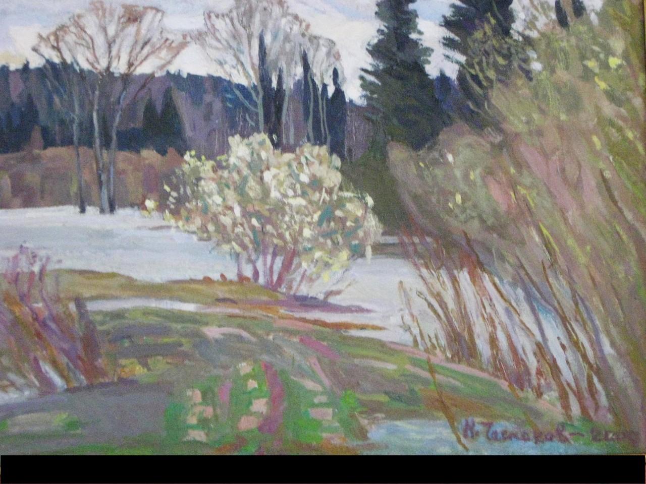 Николай Чесноков.  Верба цветет.  2000 г.  Холст, масло. 45х34 см.