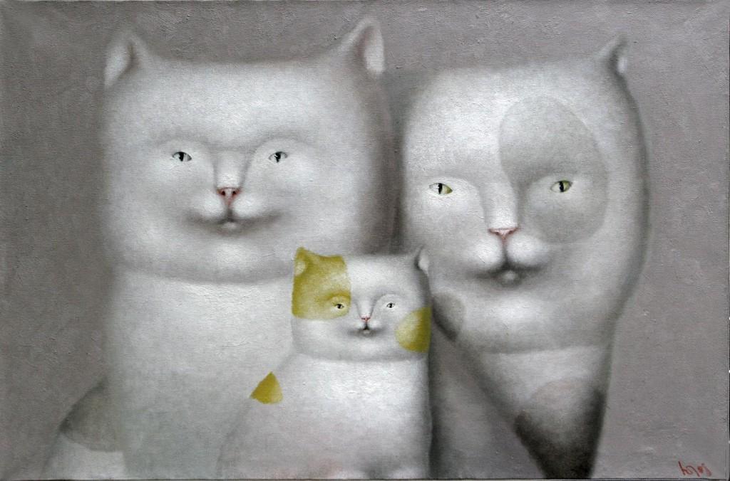 Кошки.     2008 г. Холст, масло. 47х70 см.