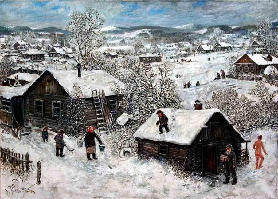 Зимняя деревня.   2007 г. Холст, масло. 50х70 см.