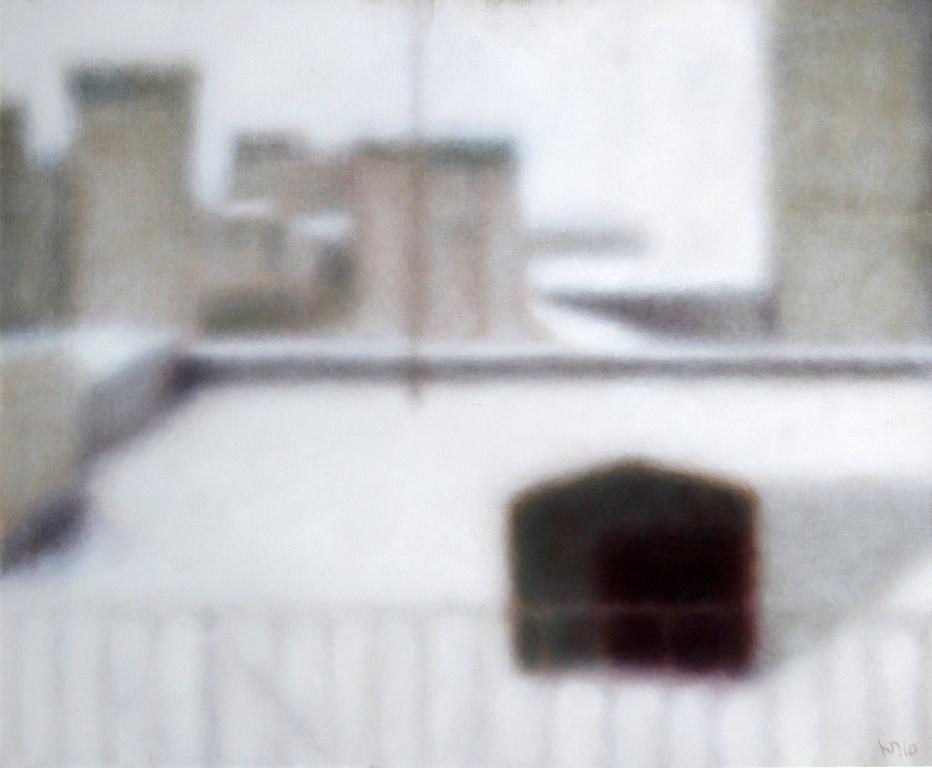 Юрий Первушин.     Крыша.  Окно на чердаке.   Комп. №237.        2010 г.                         Холст, масло.   90х70 см.