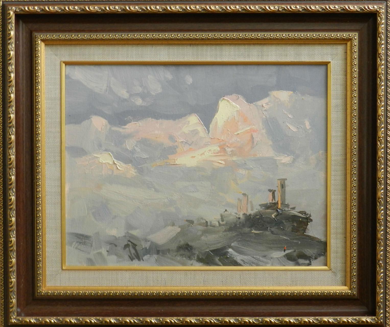 Розовый закат в горах.         Холст, масло.      30х40 см.