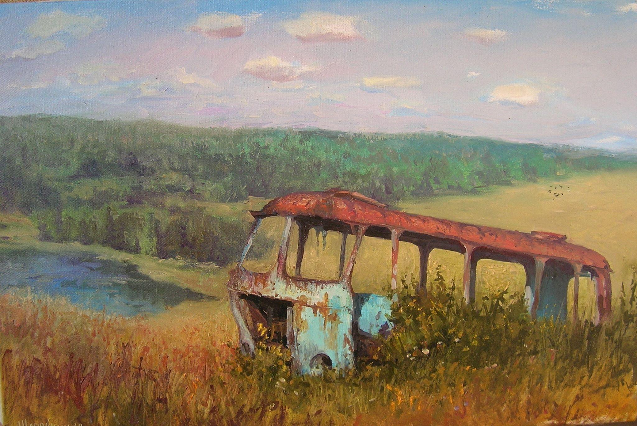 Геннадий Шаройкин. Школьный автобус. 2012 г. Холст, масло. 50х75 см.