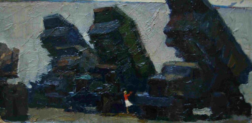 Александр Бурак (1921-1997).    Создание Качканарского моря.   1962 г.Картон,масло.17х34 см
