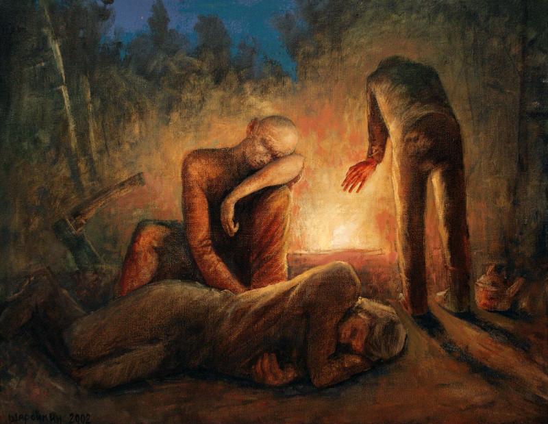 Геннадий Шаройкин.    Ночлег.   2002 г.     Холст, масло.   60х77 см.