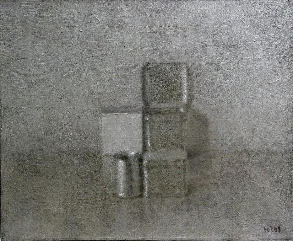 Жестянки и куб.    2008 г. Холст, масло, акрилик. 71х92 см