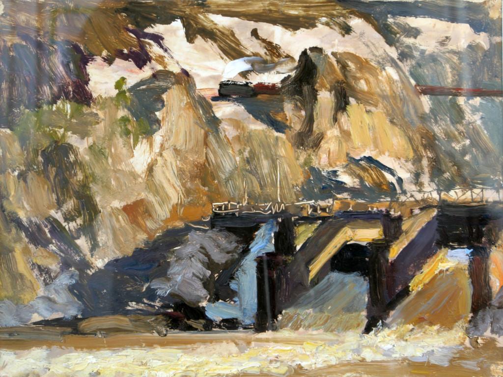 Александр Бурак (1921-1997).     Плотина в горах.     1960-е г.г. Бумага, масло.         20х27 см.