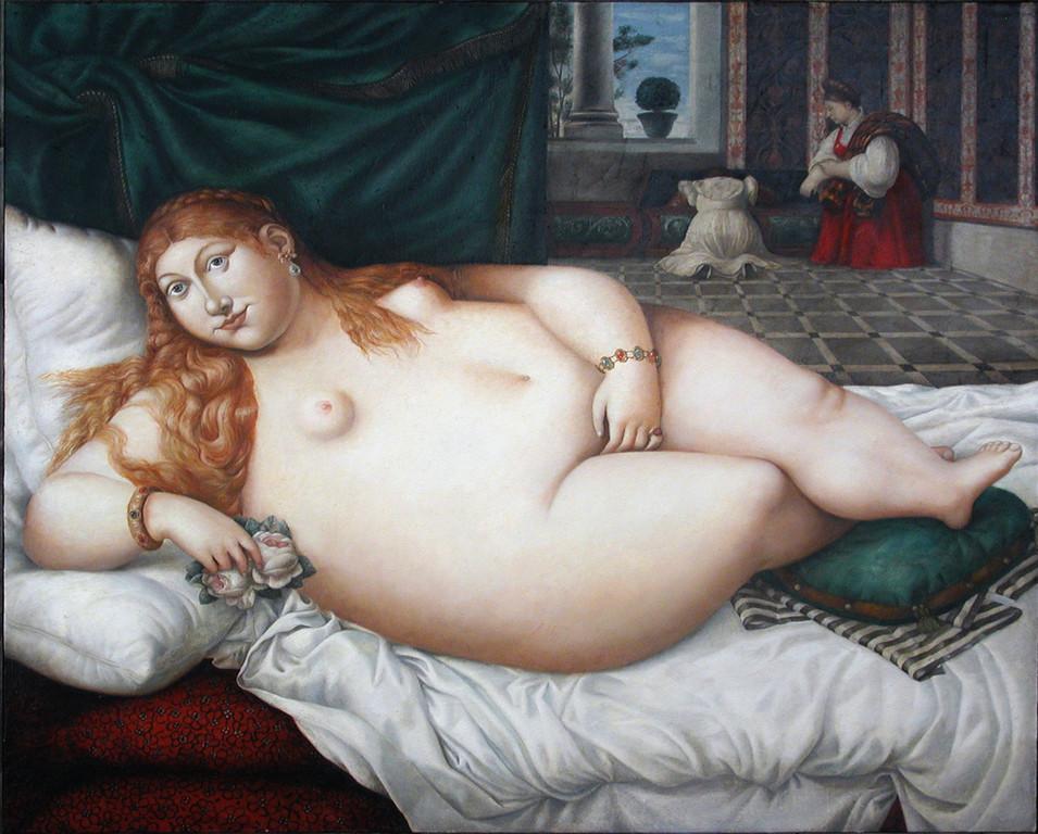 Рамиль Хабибуллин.        Венера Урбинская.     2002 г.          Холст, масло. 126х141 см.