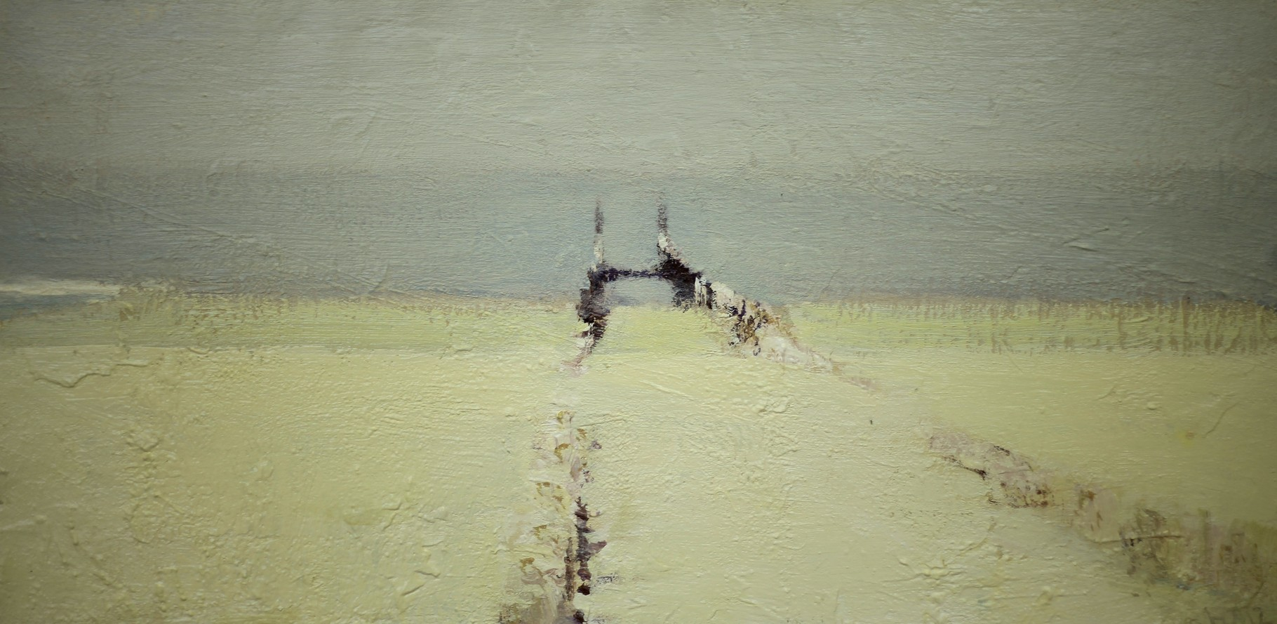 Ю. Первушин.          Домбург.        2012 г.       Холст, акрил.      40,5х80 см.