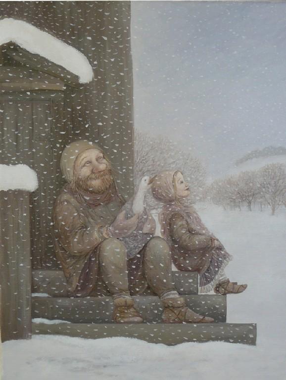 Наталья Говорухина.         Снежок.      2010 г.      Холст, масло.     40х30 см.
