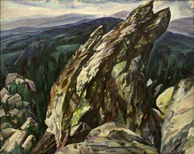 Алексей Бурлаков (1940-1999).     Шихан. Южный Урал.      1983 г. Хост, малсло.