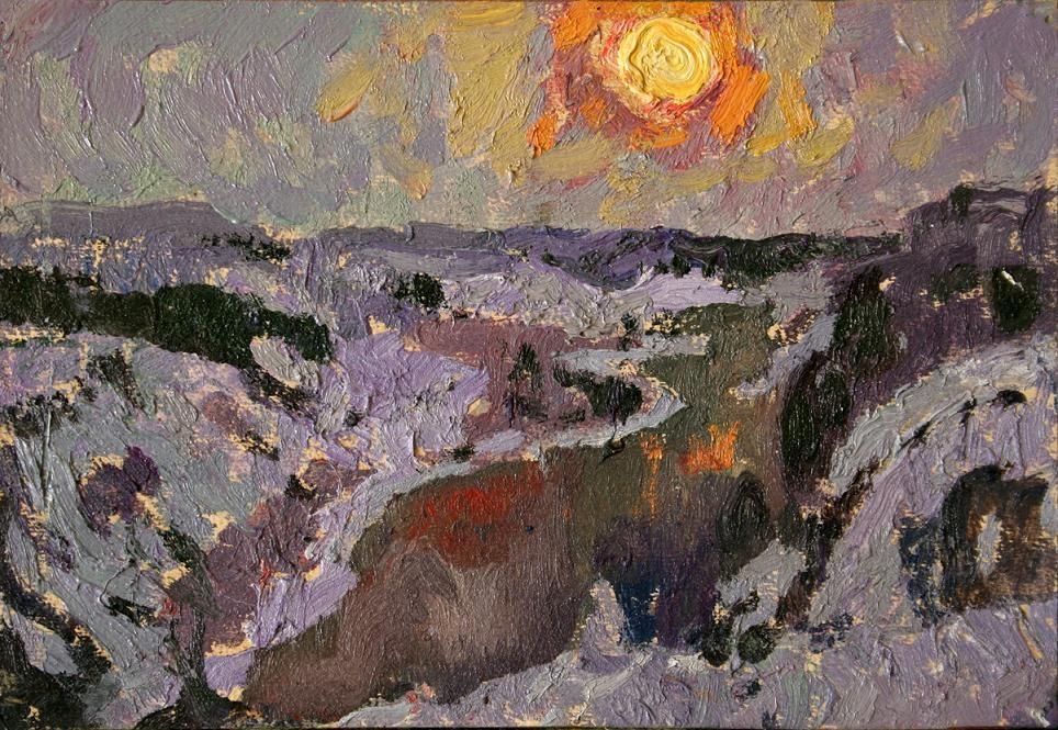 Зимнее солнце.         1965 г. Картон, масло. 22х32 см.