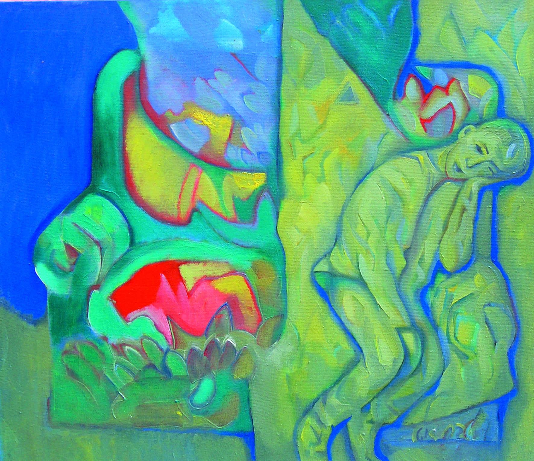 Мальчик на диване.     2002 г.      Холст, масло.     52х60 см.