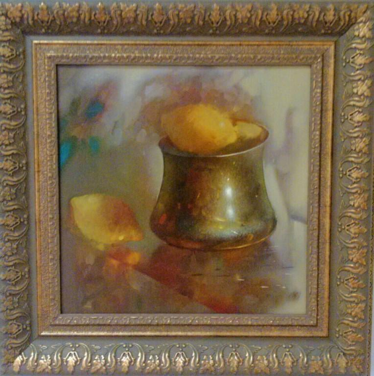 Мирза Мамедов.          Натюрморт с лимонами.      Холст, масло.     35х35 см.
